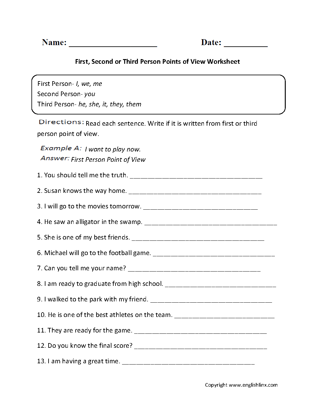 First, Second Or Third Person Points Of View Worksheet | Great | Printable Worksheets For 6Th Grade Language Arts