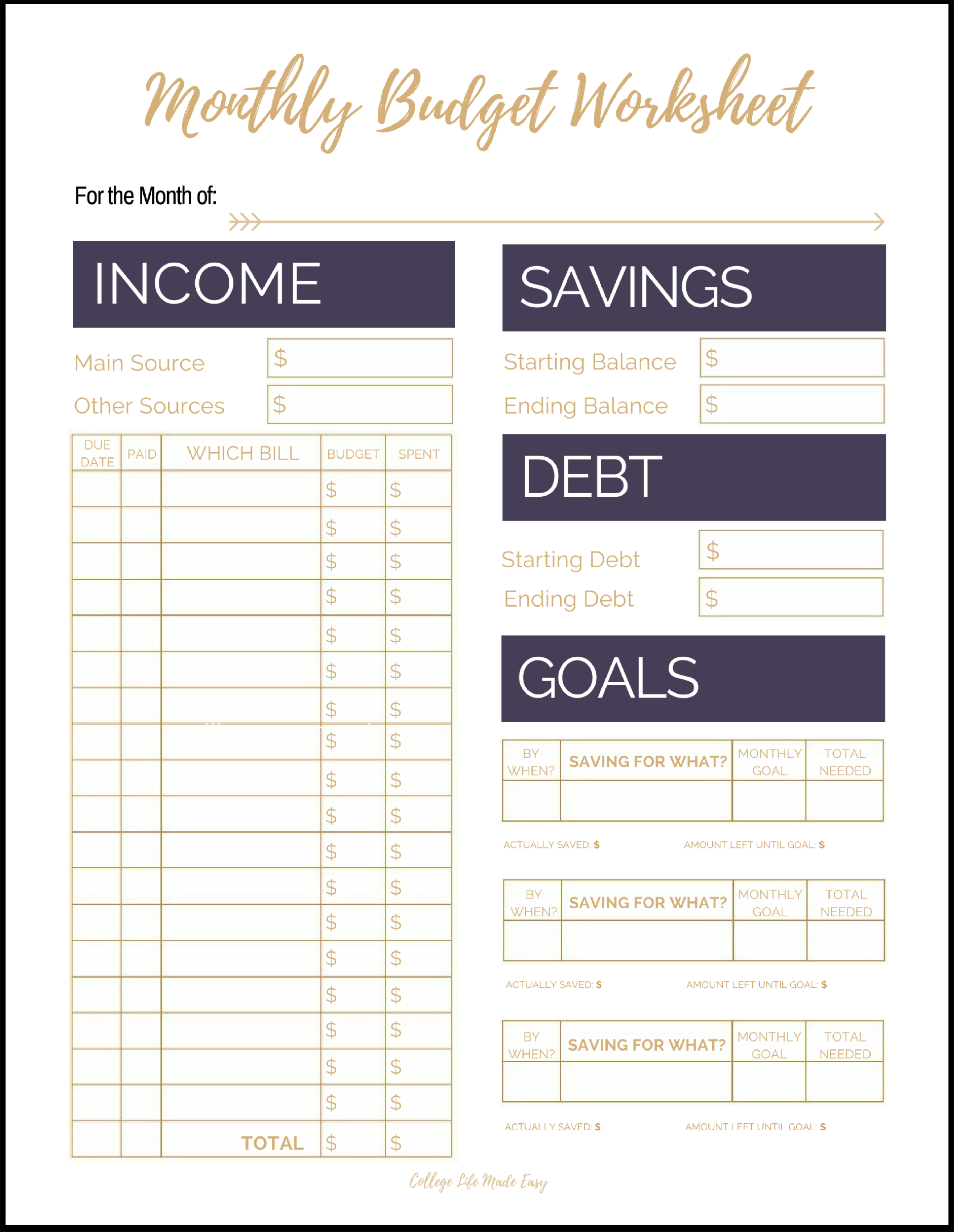 Fix Your Finances Asap With My (Free) Simple Monthly Budget Template | Free Printable Monthly Budget Worksheets