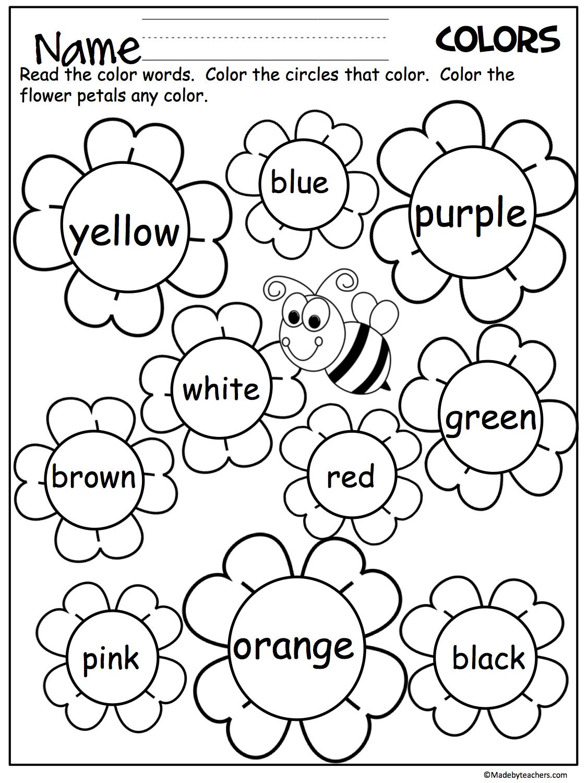 Flower Color Words Worksheet | My Future Classroom | Kindergarten | Learning Colors Printable Worksheets