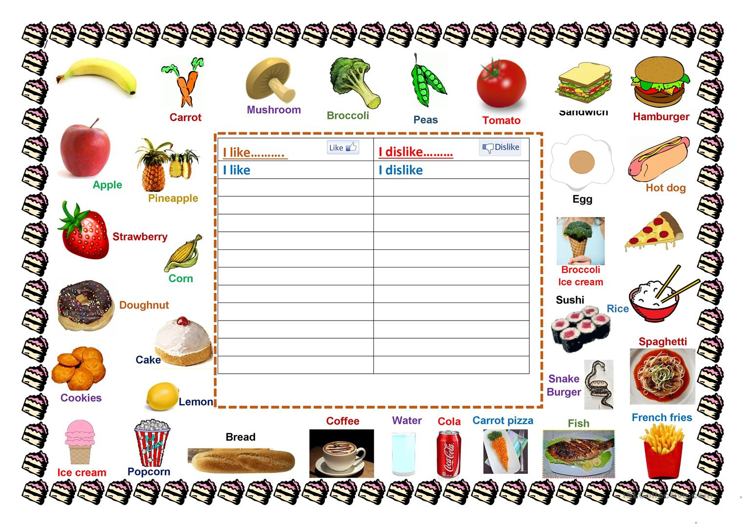 Foods I Like & Dislike Worksheet - Free Esl Printable Worksheets | Likes And Dislikes Worksheets Printable
