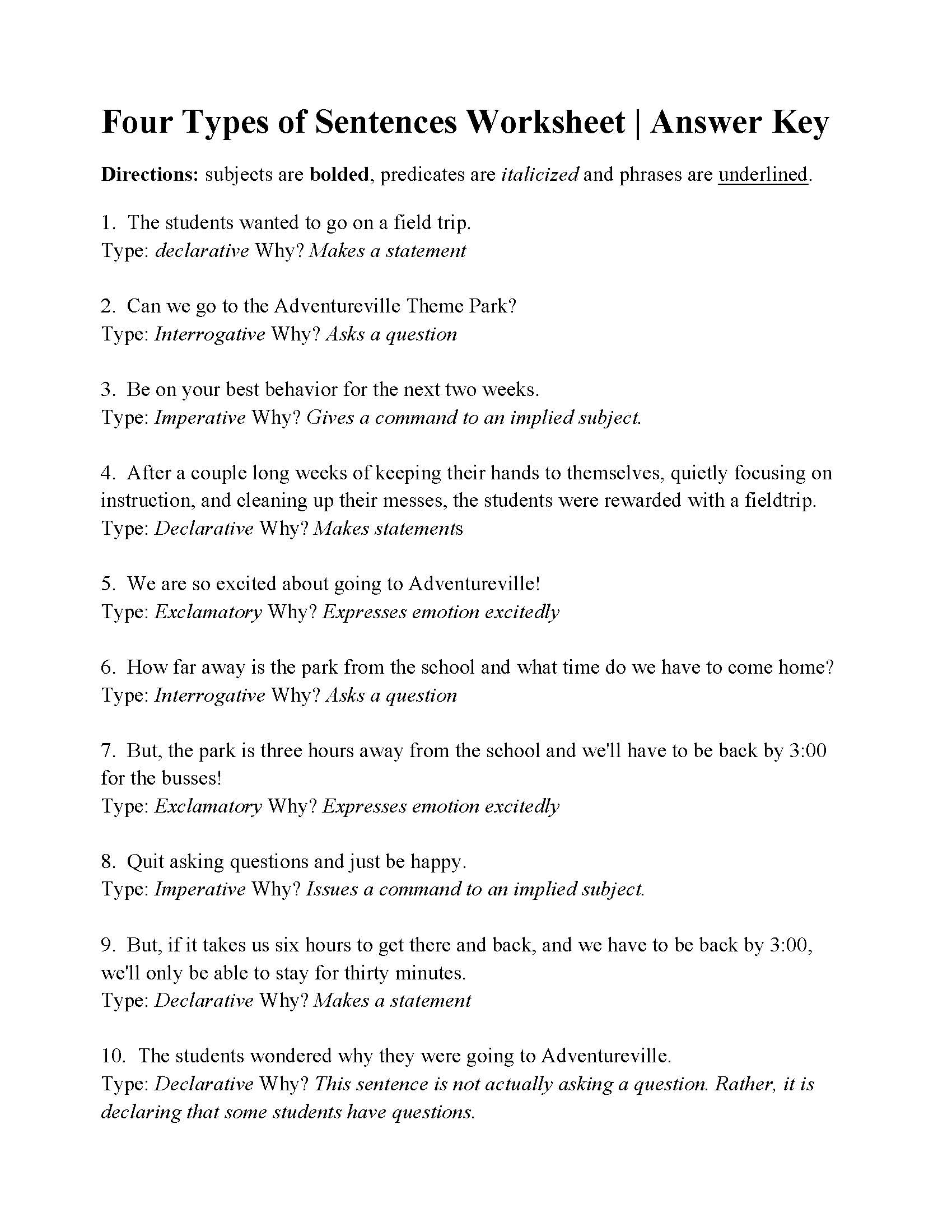 Four Types Of Sentences Worksheet | Answers | Free Printable Types Of Sentences Worksheets