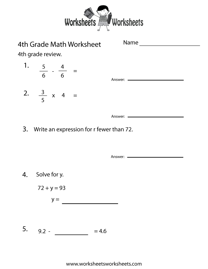 Fourth Grade Math Practice Worksheet - Free Printable Educational | 4Th Grade Printable Worksheets Language Arts