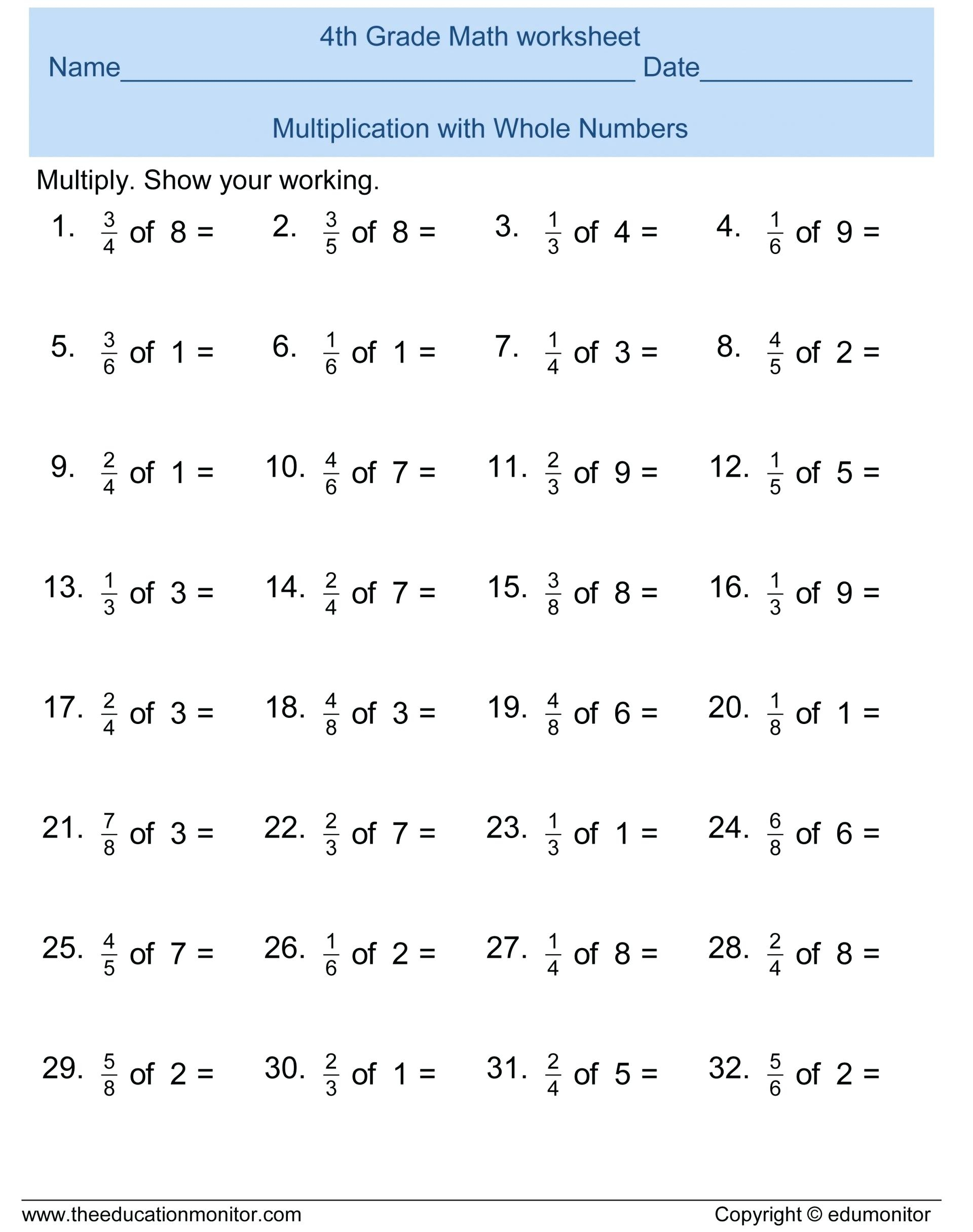 Fourth Grade Math Printable Worksheets – Karenlynndixon | 4Th Grade Math Worksheets Printable Pdf