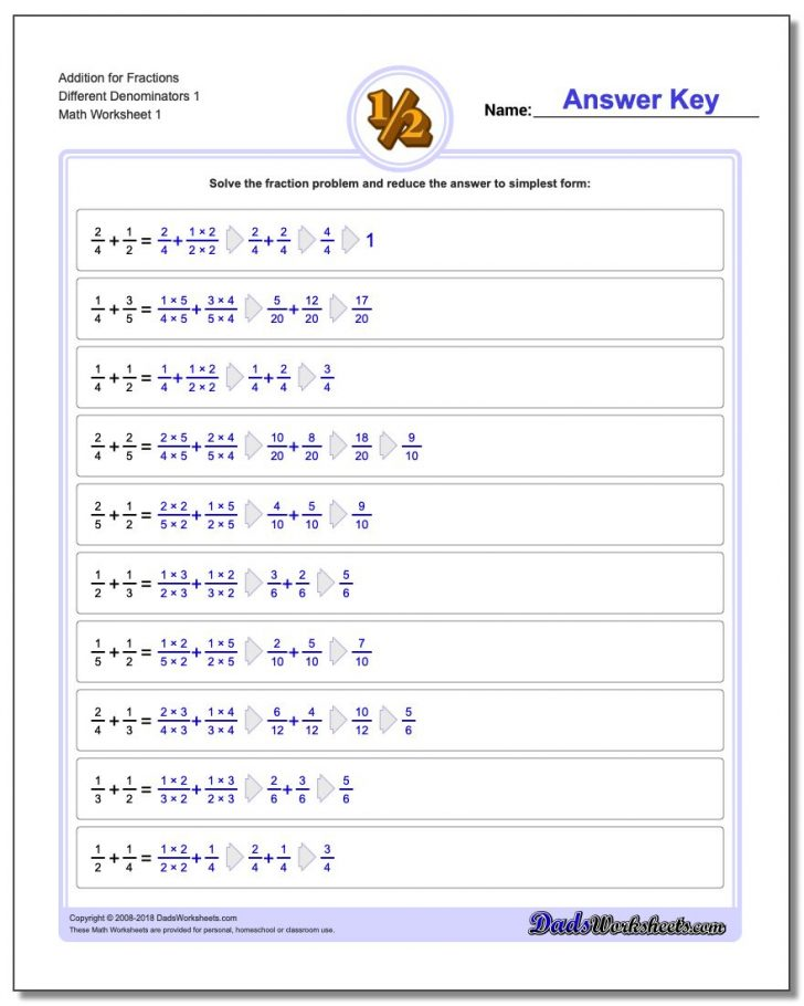 Free Printable 4Th Grade Math Fraction Worksheets
