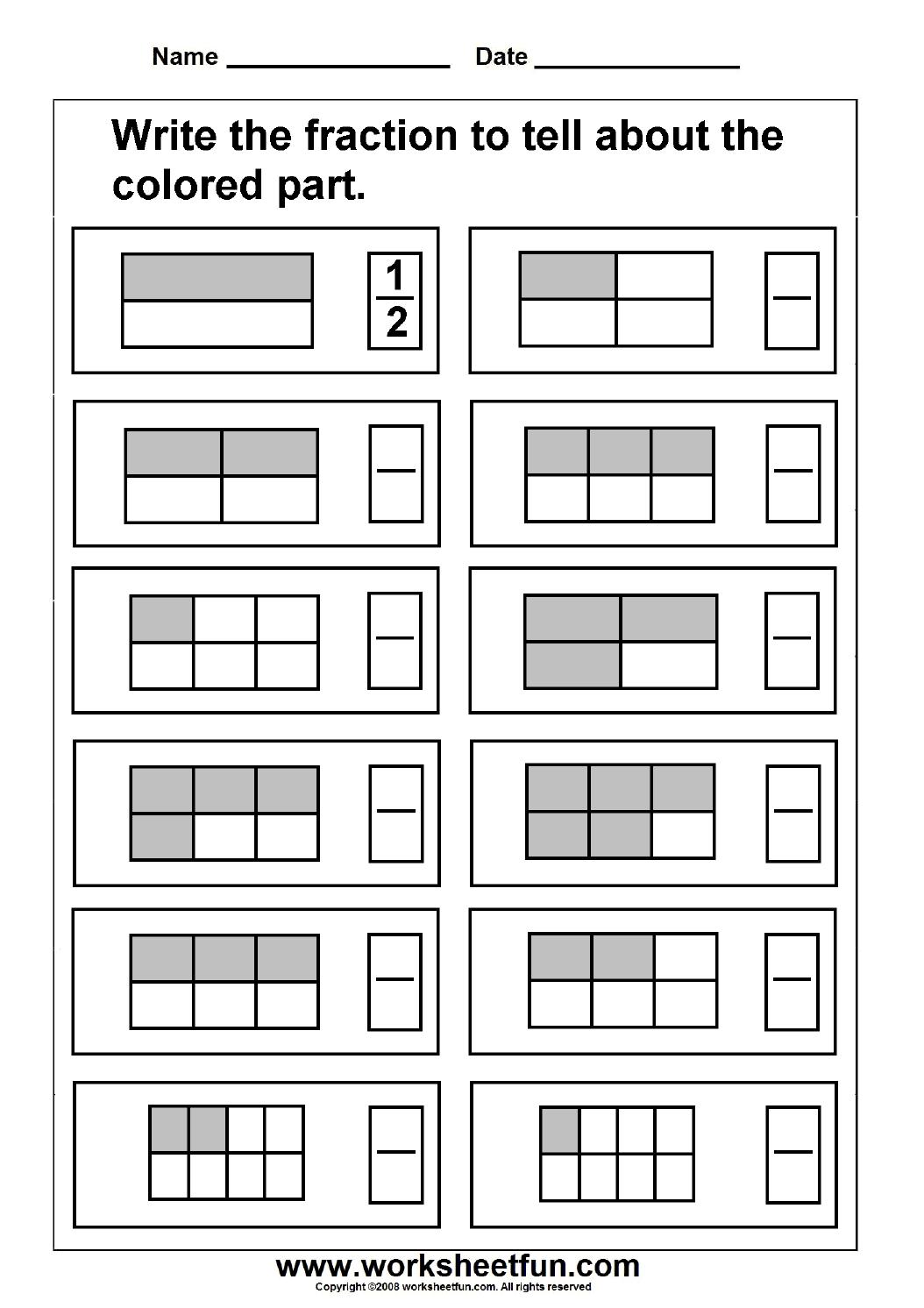 Fraction / Free Printable Worksheets – Worksheetfun   Free Printable Fraction Worksheets