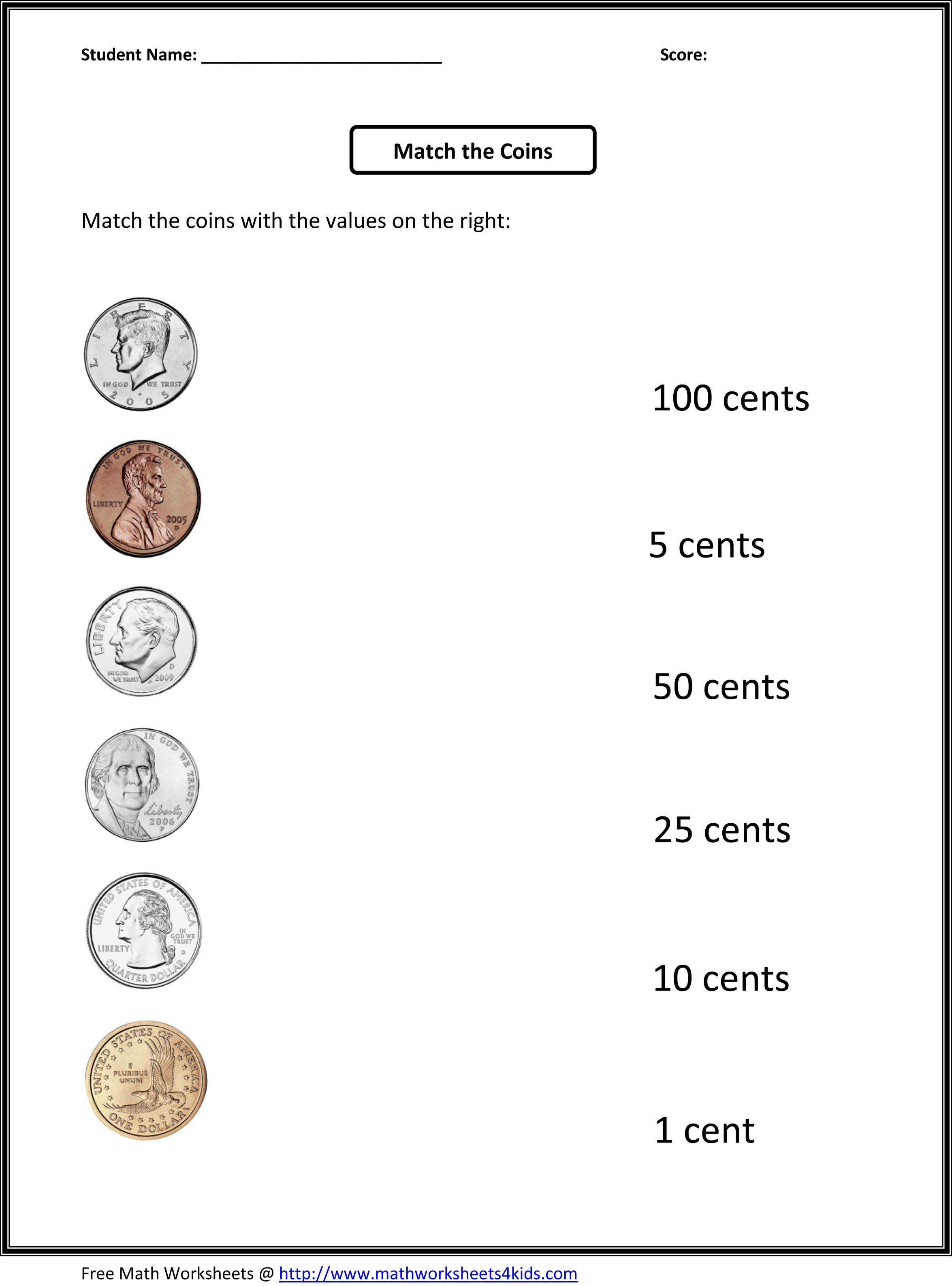 Free 1St Grade Worksheets | Match The Coins And Its Values | Printable Worksheets For 1St Grade