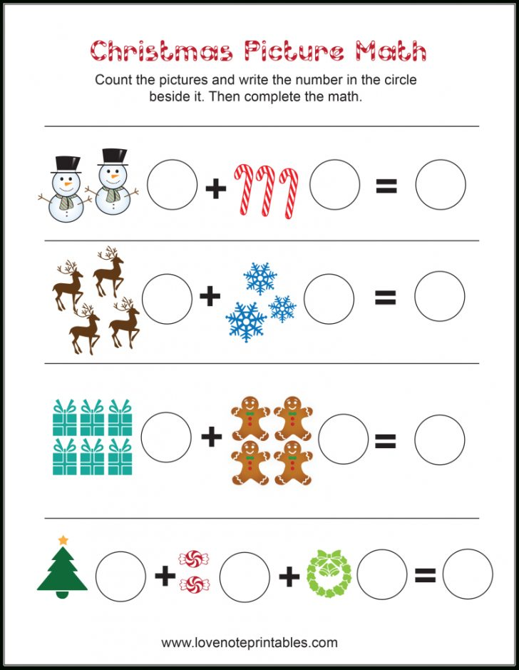 Free Printable Christmas Math Worksheets Kindergarten