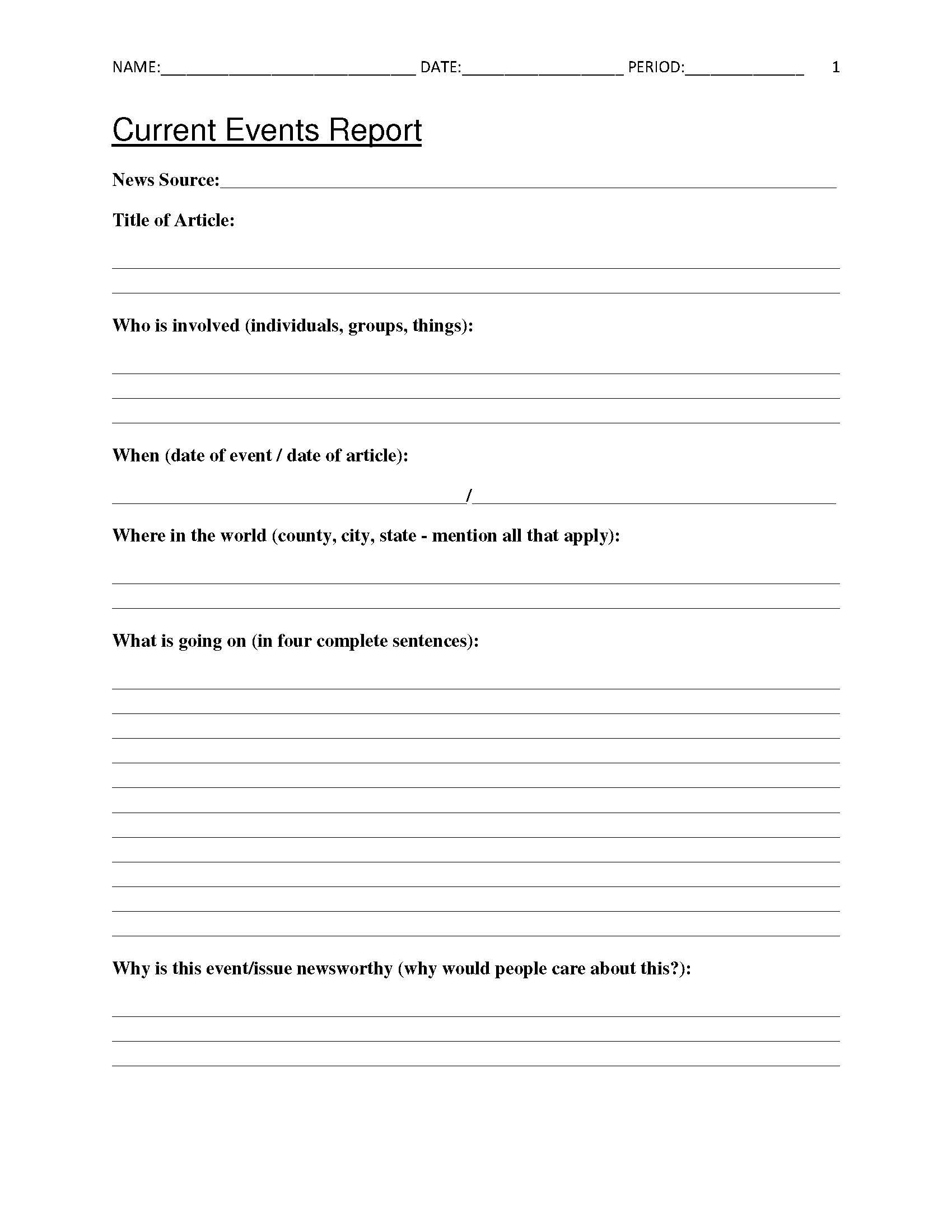 Free Current Events Report Worksheet For Classroom Teachers | Printable Social Studies Worksheets 8Th Grade
