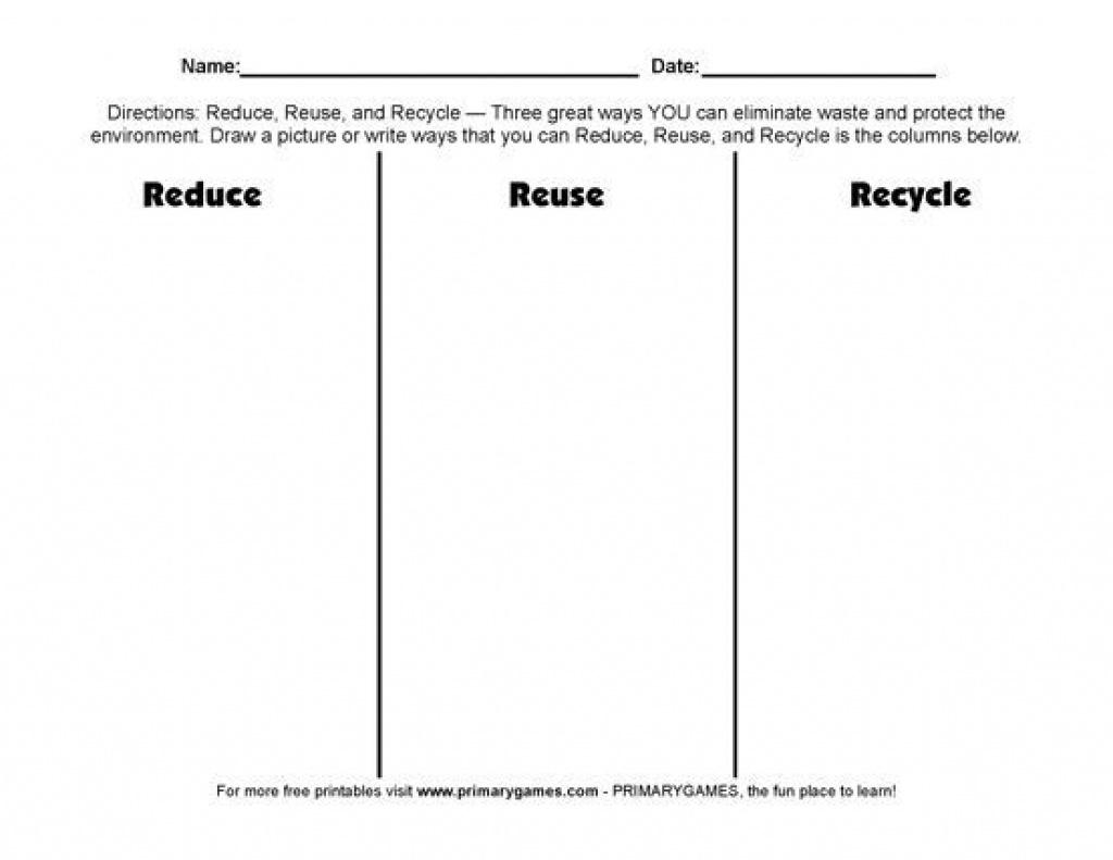 Free Earth Day Worksheets: Reduce, Reuse, Recycle! - Free Printable | Recycle Worksheets Printable