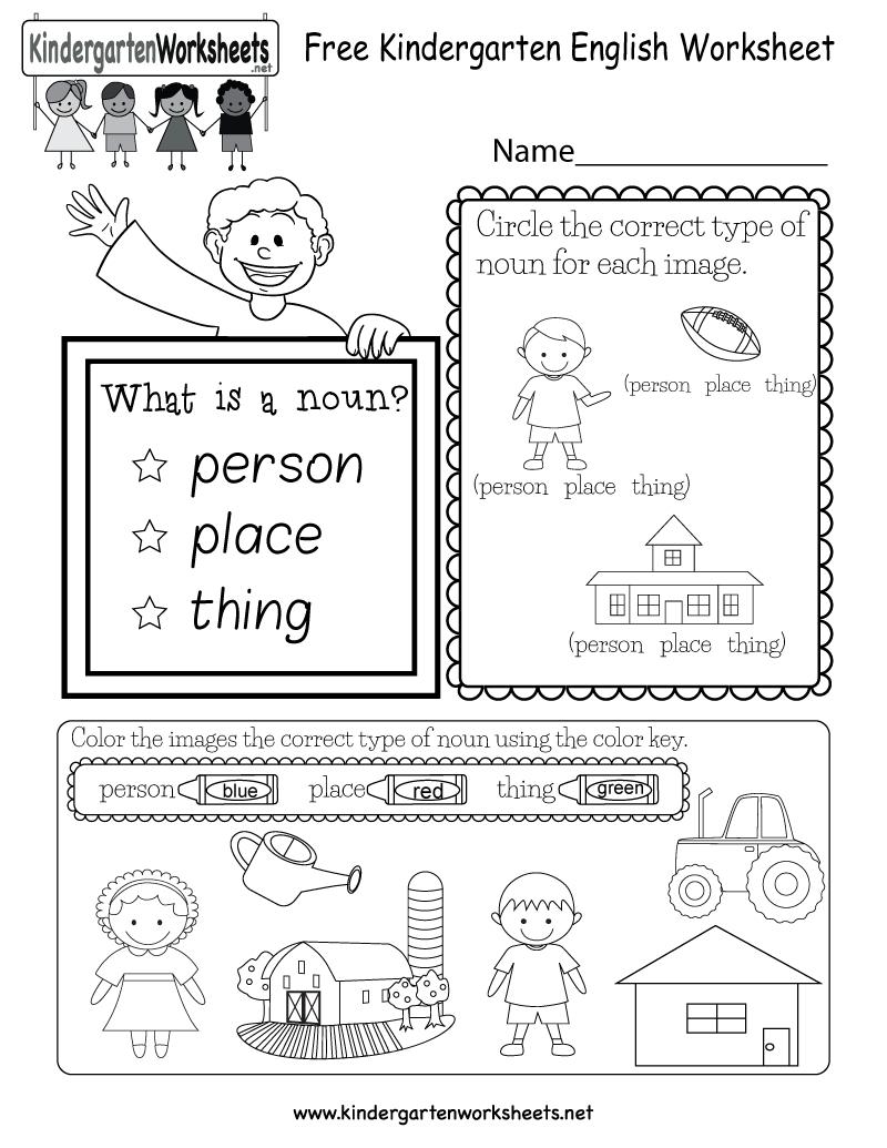 Free Kindergarten English Worksheet   English Worksheets Printables