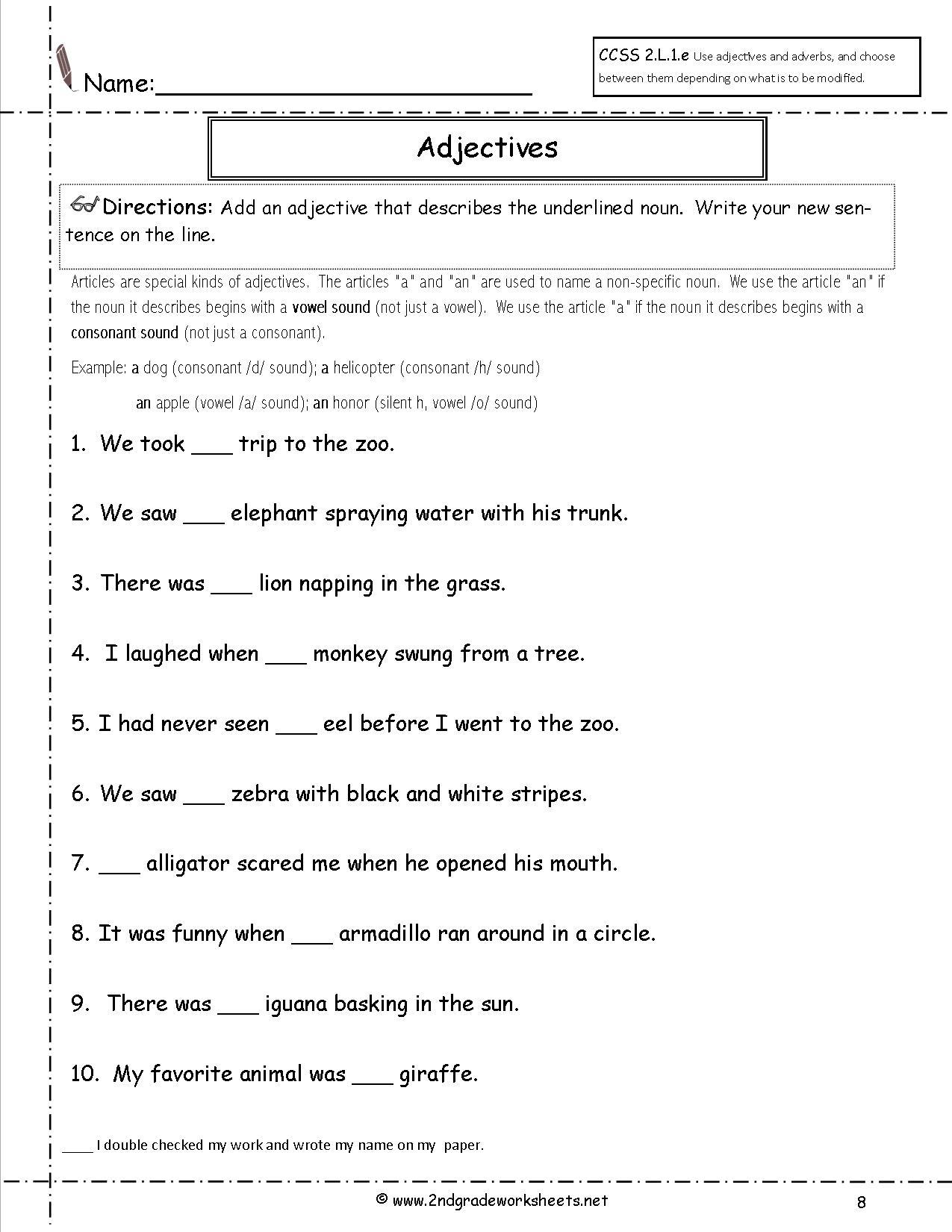 Free Language/grammar Worksheets And Printouts   2Nd Grade Grammar Printable Worksheets