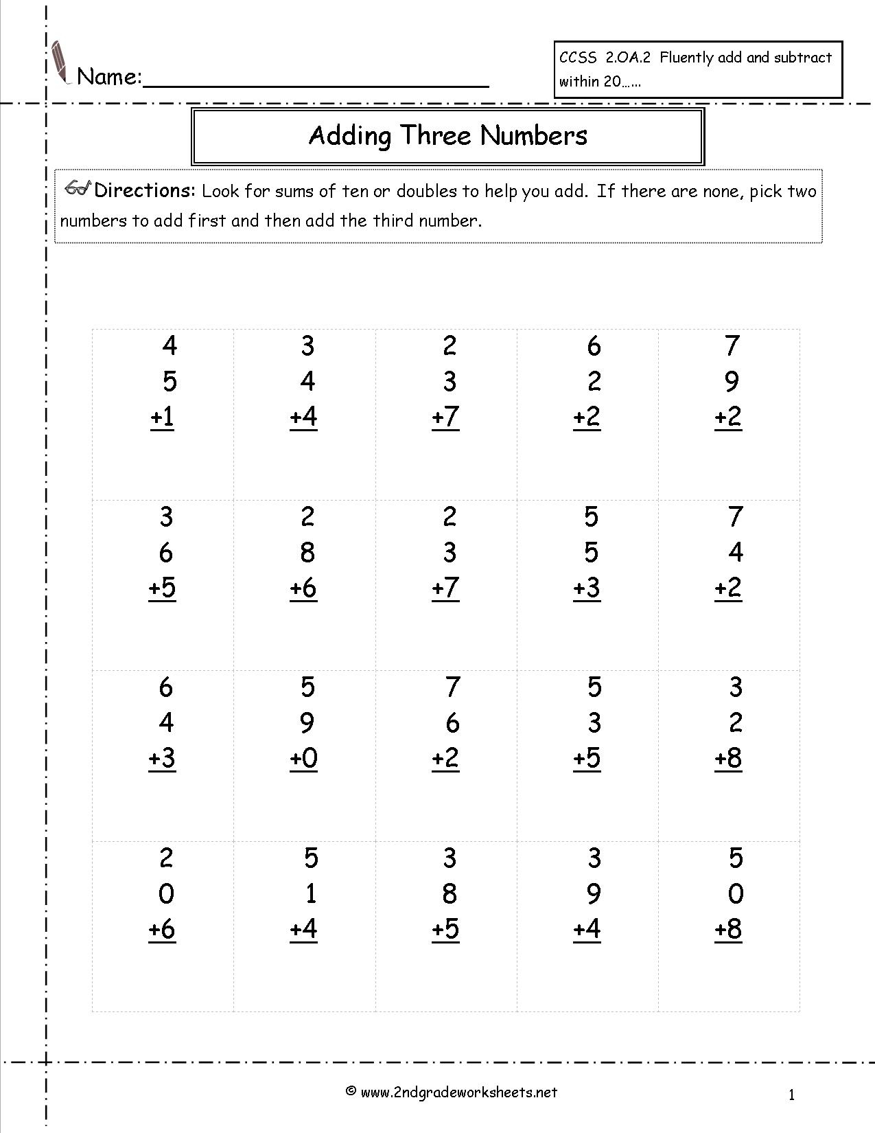 Free Math Worksheets And Printouts | Free Printable Second Grade Math Worksheets