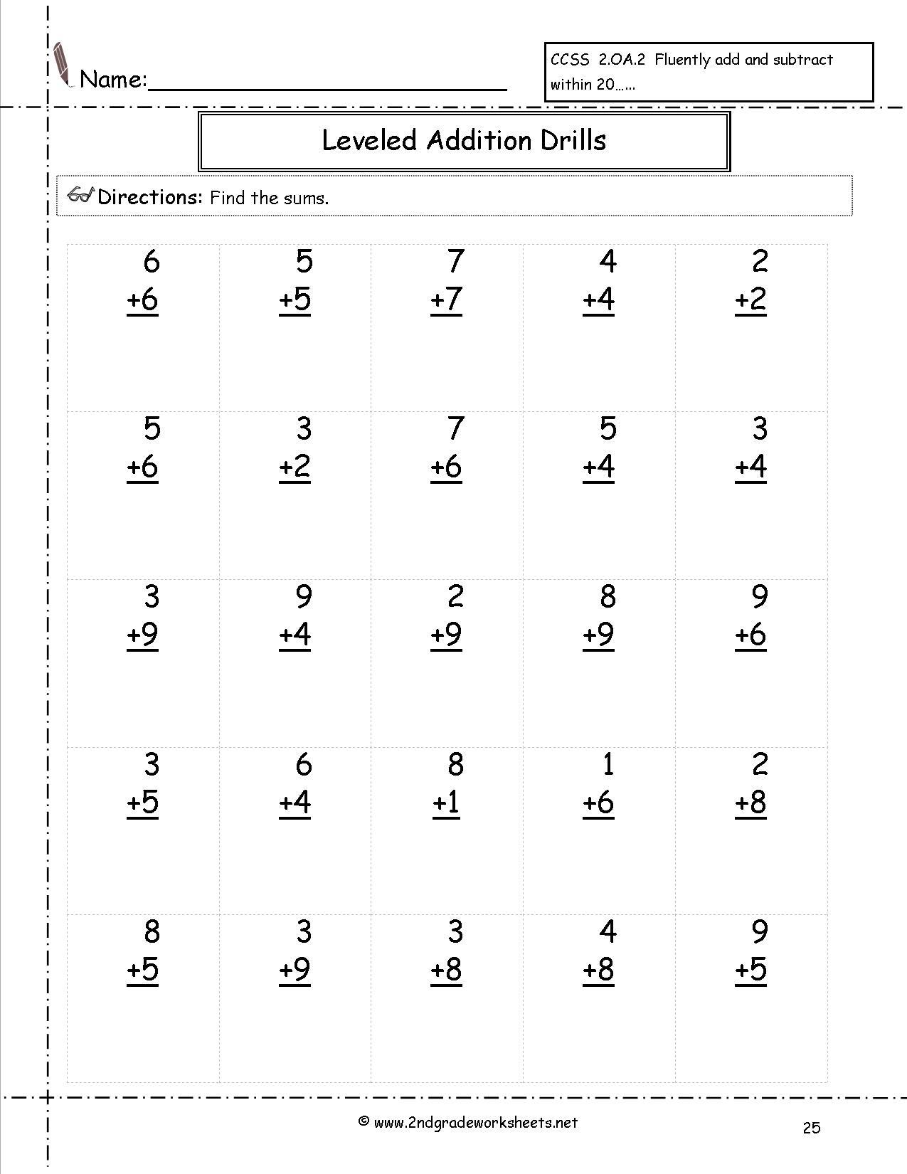 Free Math Worksheets And Printouts   Free Printable Second Grade Math Worksheets