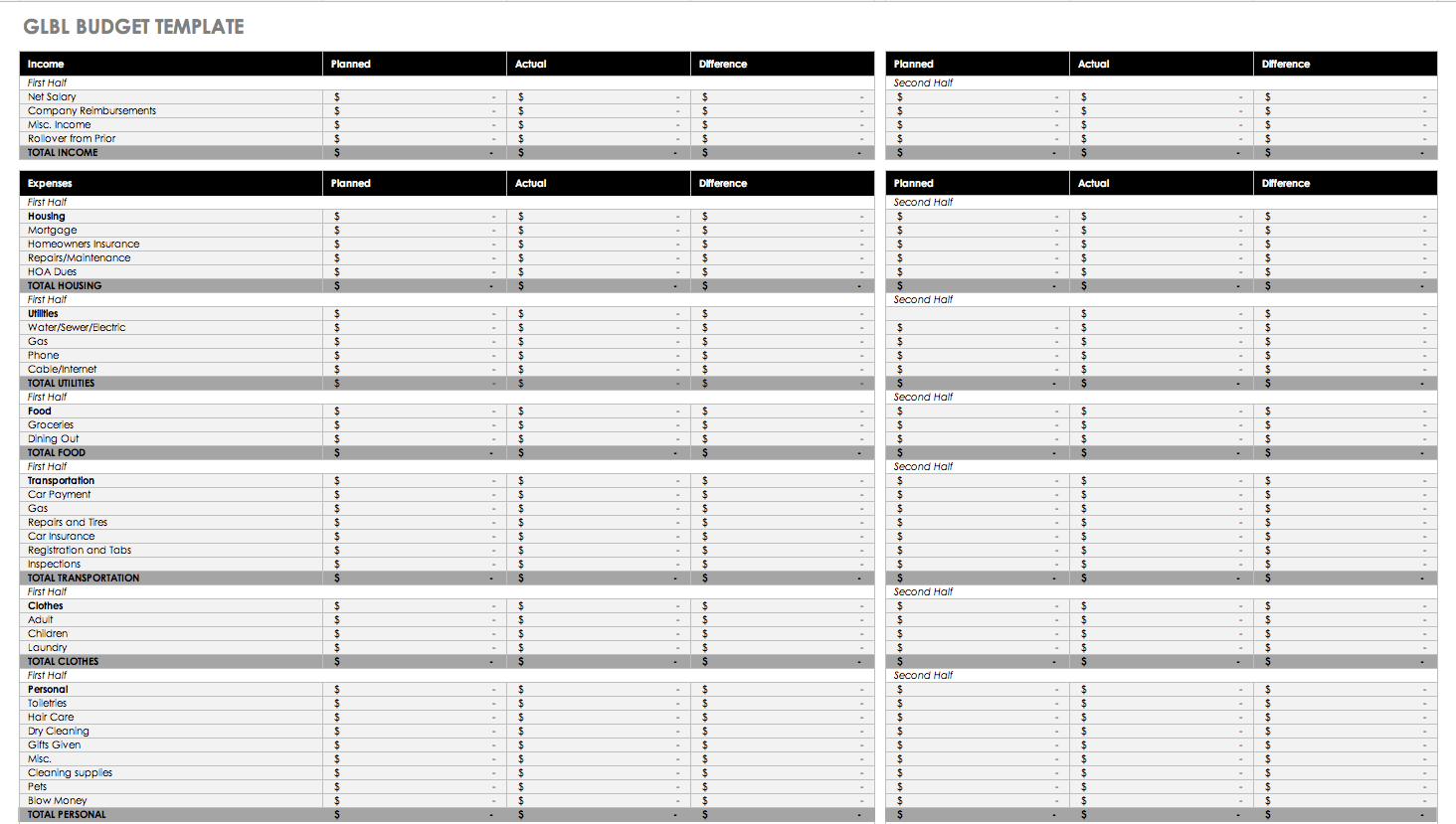 Free Monthly Budget Templates | Smartsheet | Free Printable Monthly Expenses Worksheet