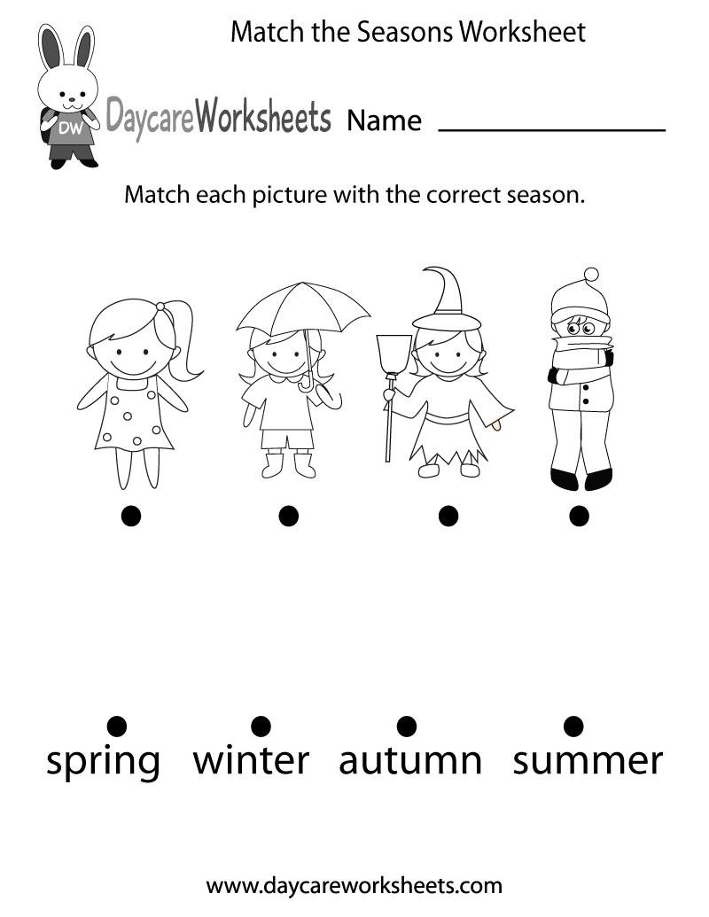 Free Preschool Match The Seasons Worksheet - Free Printable Seasons | Free Printable Seasons Worksheets