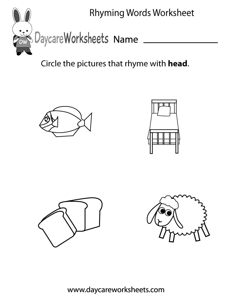 Free Preschool Rhyming Practice Worksheet   Free Printable Rhyming Words Worksheets
