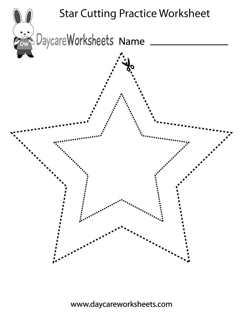 Free Preschool Star Cutting Practice Worksheet | Free Printable Cutting Worksheets For Kindergarten