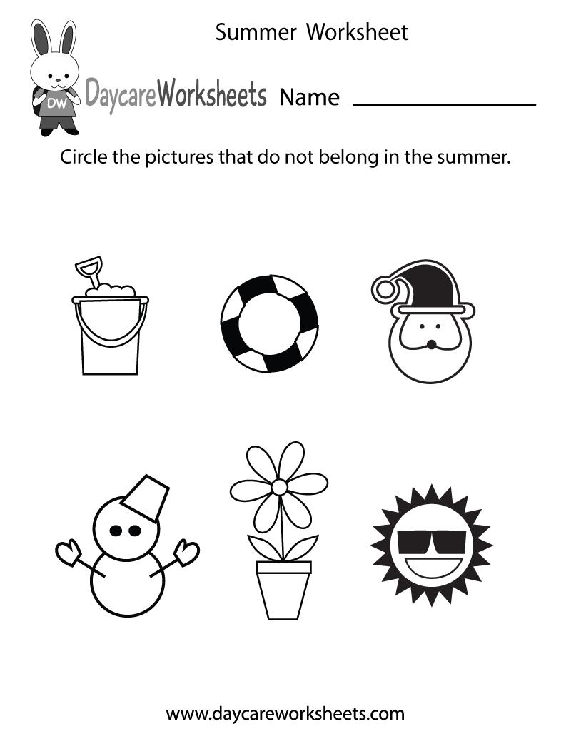 Free Preschool Summer Worksheet - Free Printable Seasons Worksheets | Free Printable Seasons Worksheets