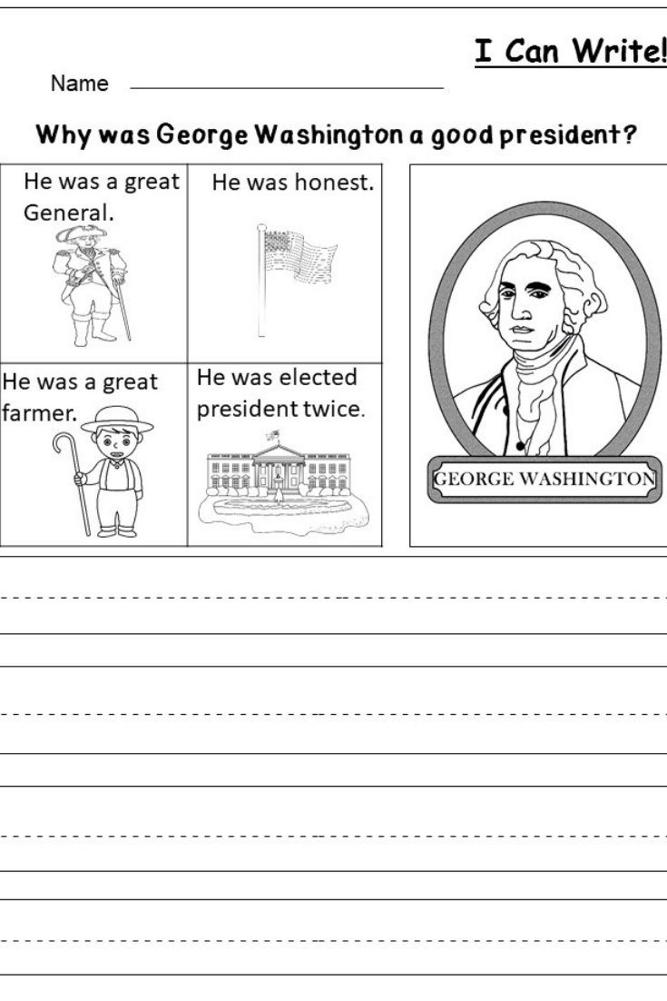 Free President's Day Writing Worksheet | Kindergarten Writing And | Free Printable George Washington Worksheets