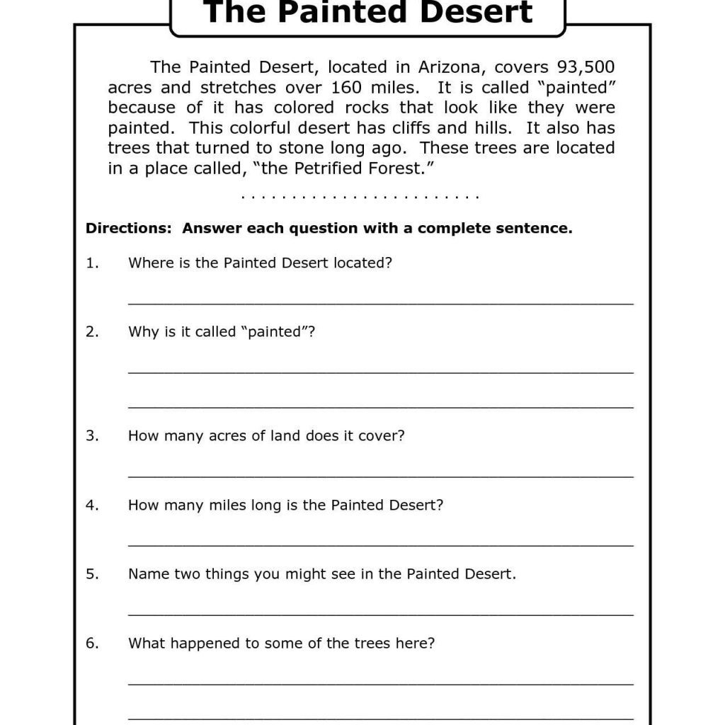Free Printable 7Th Grade Reading Comprehension Worksheets Grade 3 | Printable English Worksheets