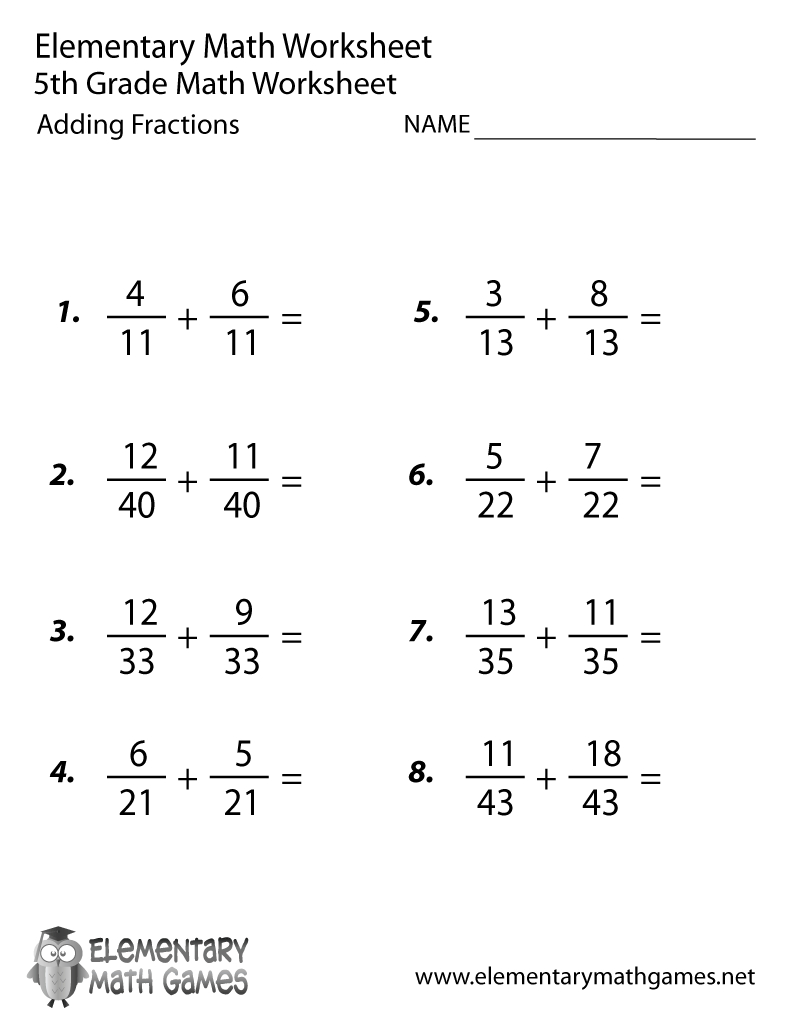 Free Printable Adding Fractions Worksheet For Fifth Grade | 5Th Grade Math Worksheets Printable