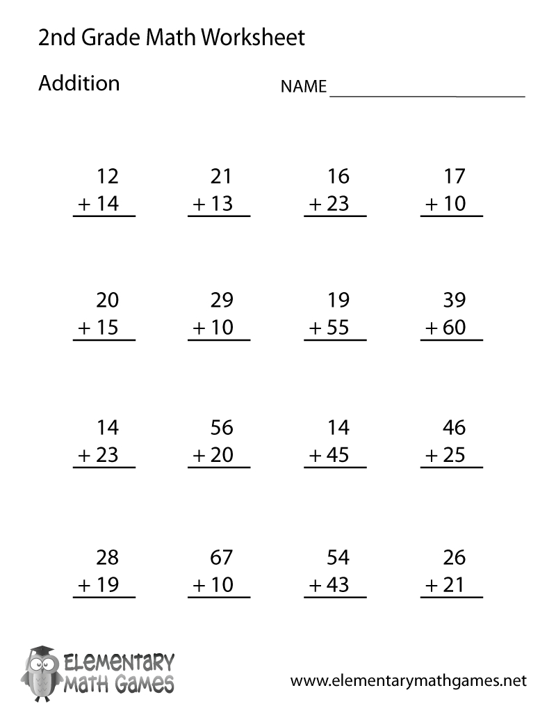 Free Printable Addition Worksheet For Second Grade | Free Printable Second Grade Writing Worksheets