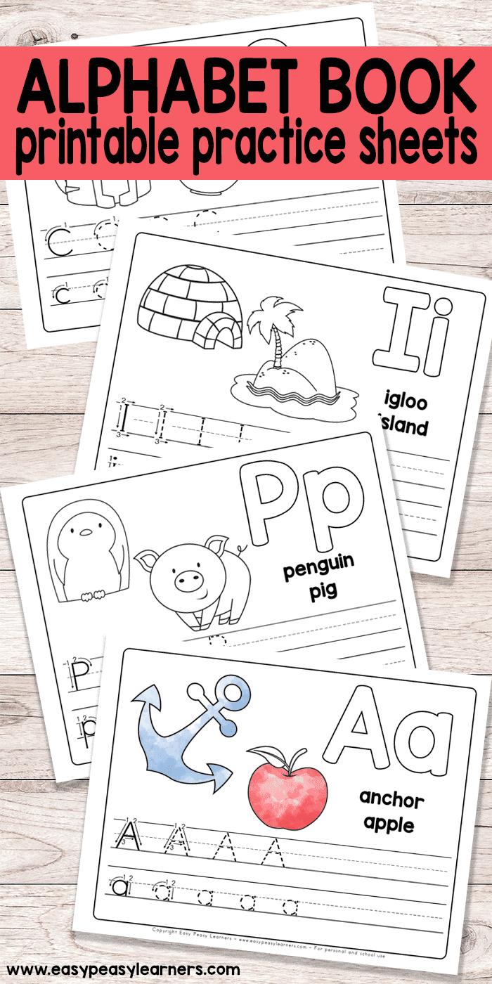 Free Printable Alphabet Book - Alphabet Worksheets For Pre-K And K | Childrens Printable Alphabet Worksheets