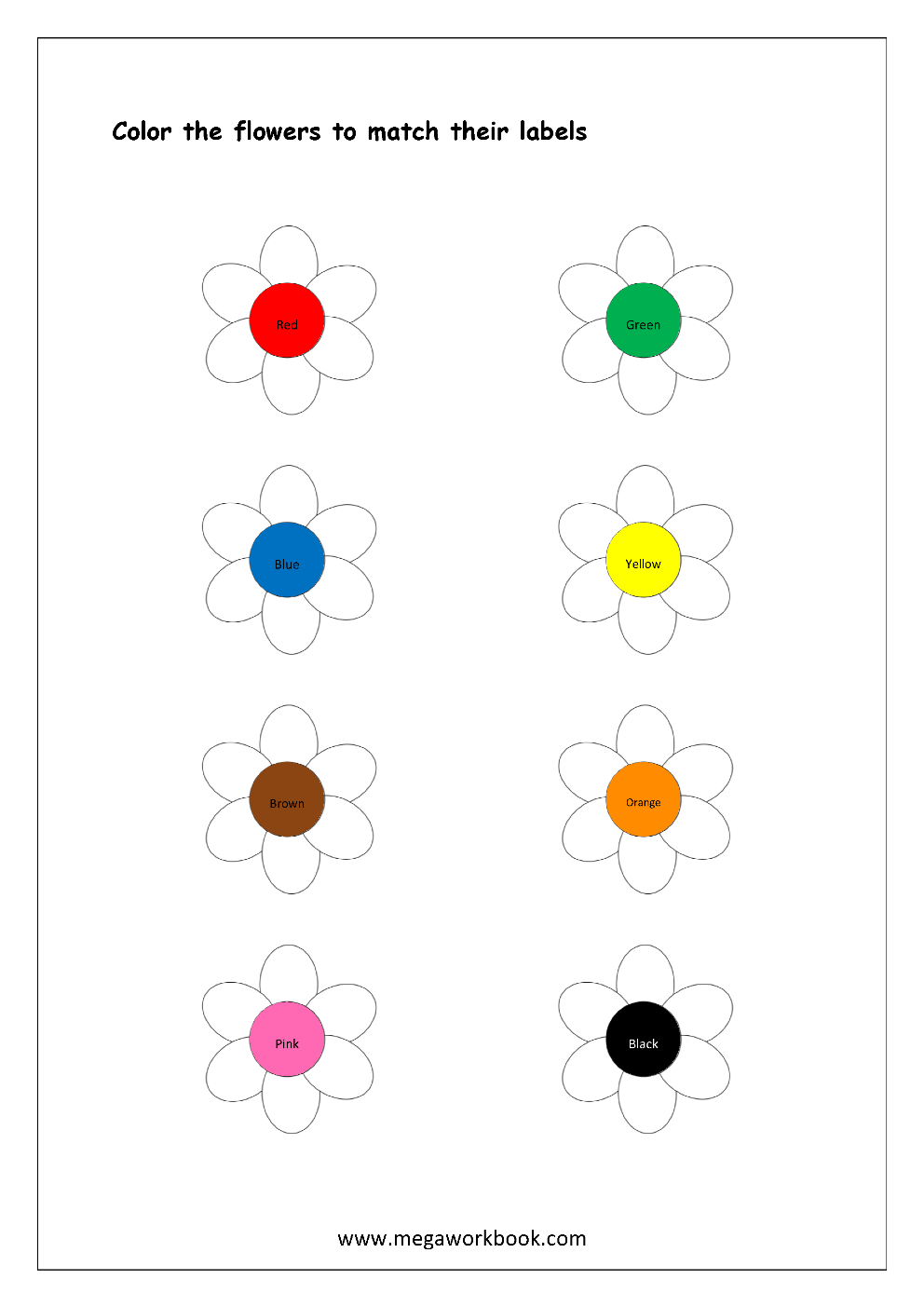 Free Printable Color Recognition Worksheets - Colormatching Hint | Color Recognition Worksheets Free Printable