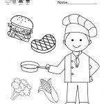 Free Printable Cooking School Worksheet For Kindergarten | Free Printable Cooking Worksheets