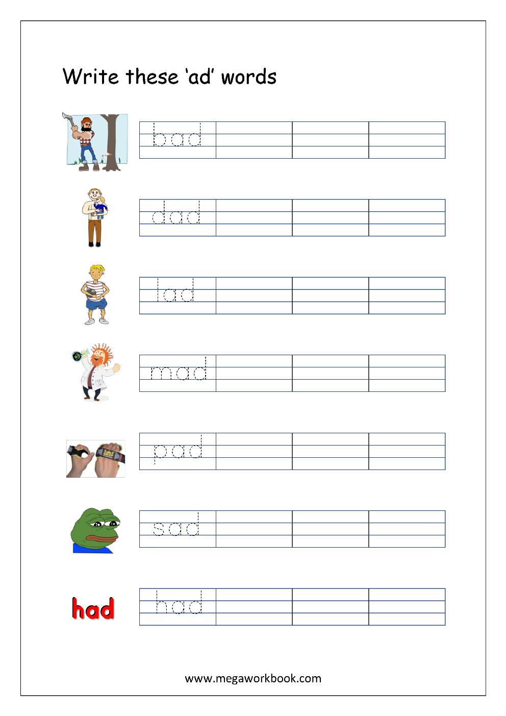 Free Printable Cvc Words Writing Worksheets For Kids - Three Letter | Cvc Words Worksheets Free Printable