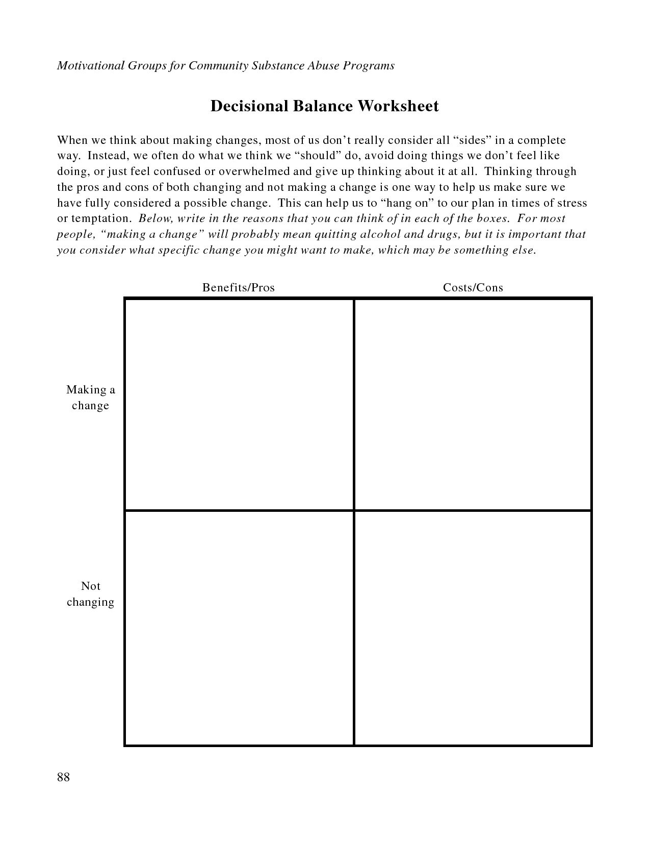 Free Printable Dbt Worksheets | Decisional Balance Worksheet - Pdf | Free Printable Therapy Worksheets