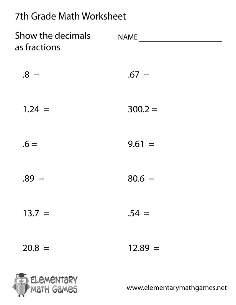 Free Printable Decimals Worksheet For Seventh Grade | 7 Grade Worksheets Free Printables