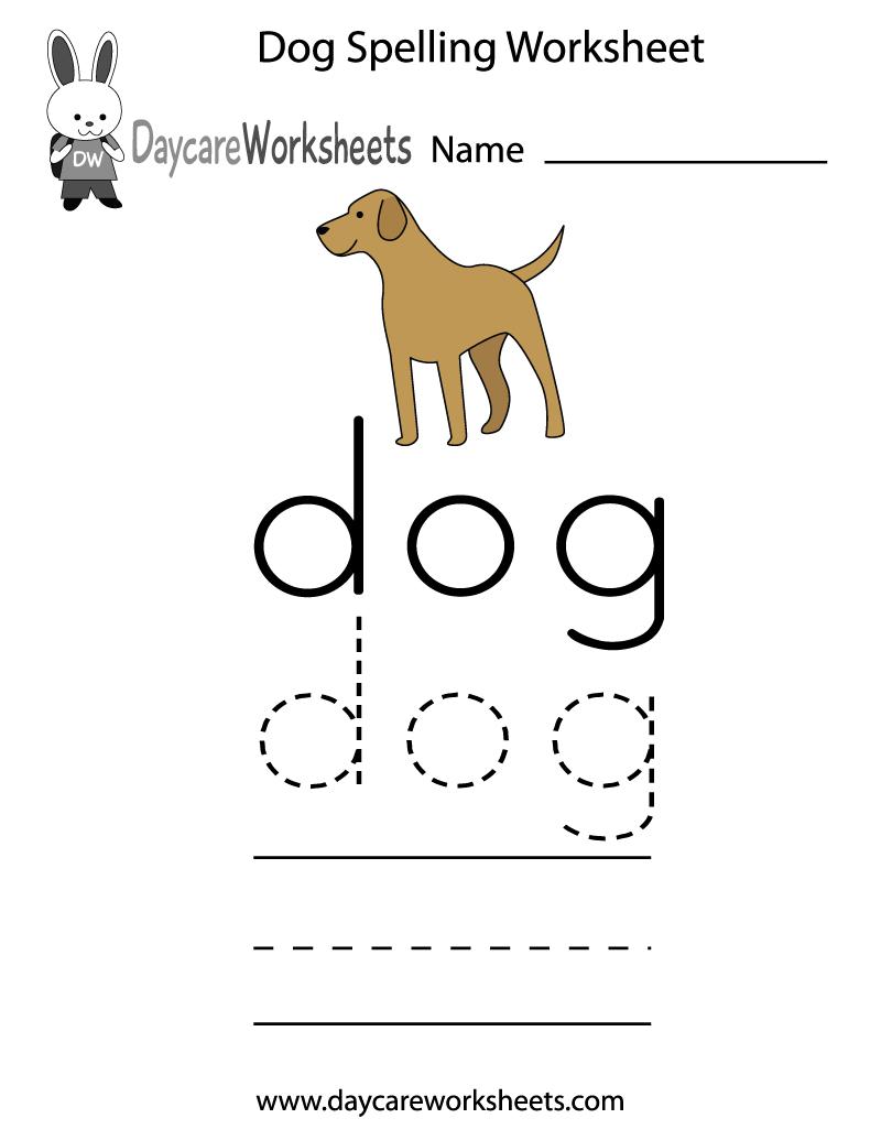 Free Printable Dog Spelling Worksheet For Preschool | Free Printable Pet Worksheets