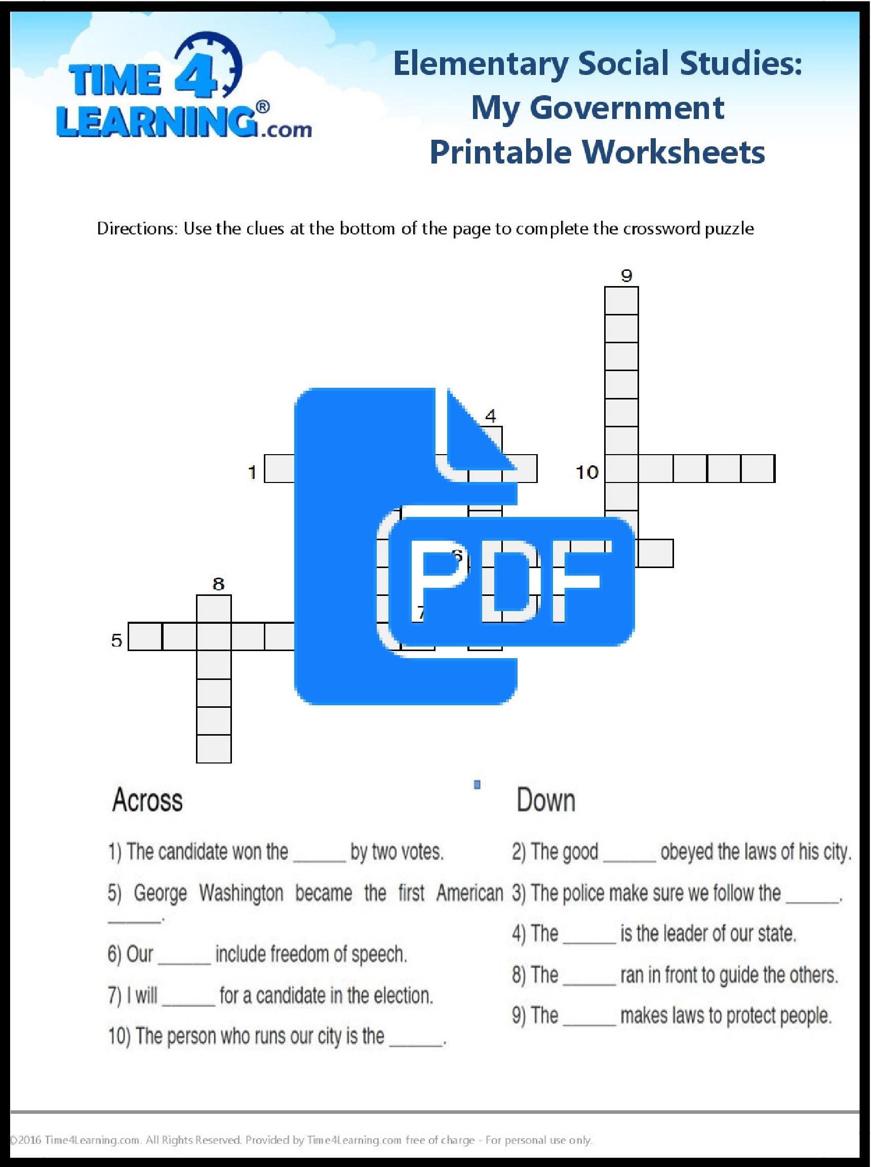 Free Printable: Elementary Social Studies Worksheet | Time4Learning | Printable Social Studies Worksheets