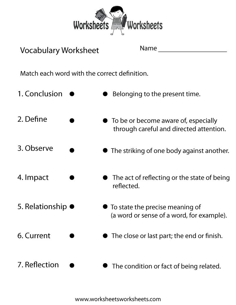 Free Printable English Vocabulary Worksheet | Free Printable Vocabulary Worksheets