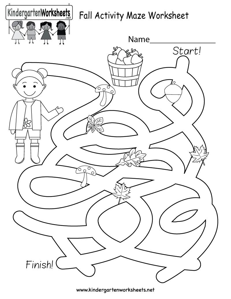 Free Printable Fall Activity Maze Worksheet For Kindergarten - Free | Free Printable Fall Worksheets Kindergarten