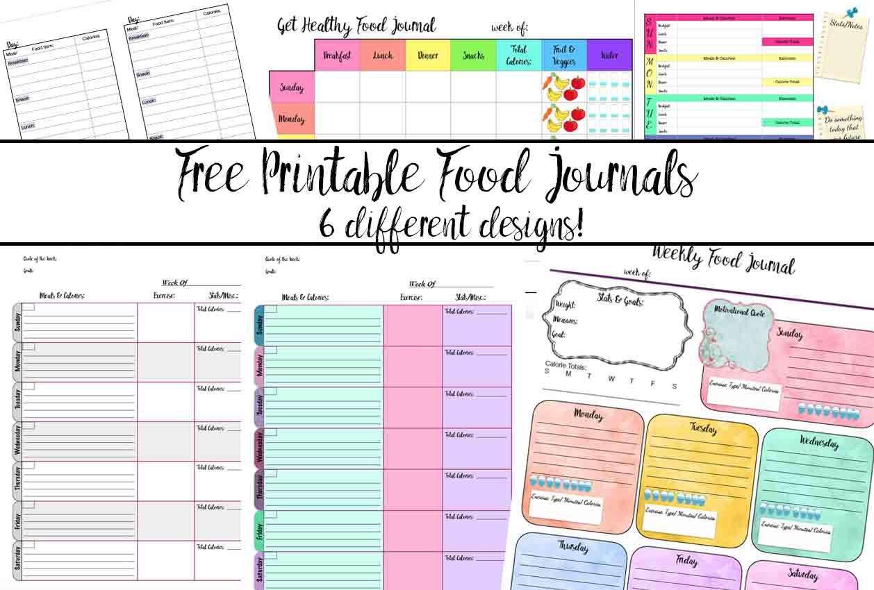 Free Printable Food Journal: 6 Different Designs | Food Journal Printable Worksheets