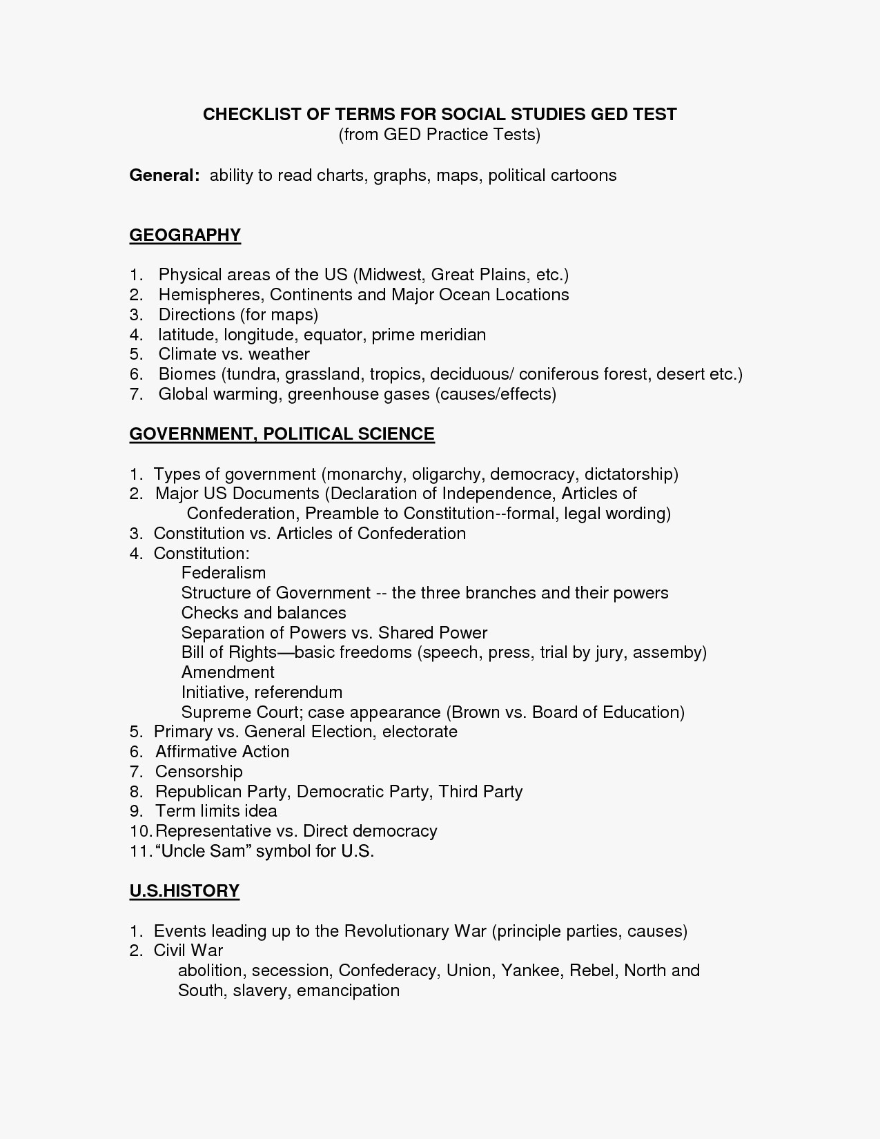 Free Printable Ged Math Worksheets Ged Tasc Class - Classy World | Ged Social Studies Printable Worksheets