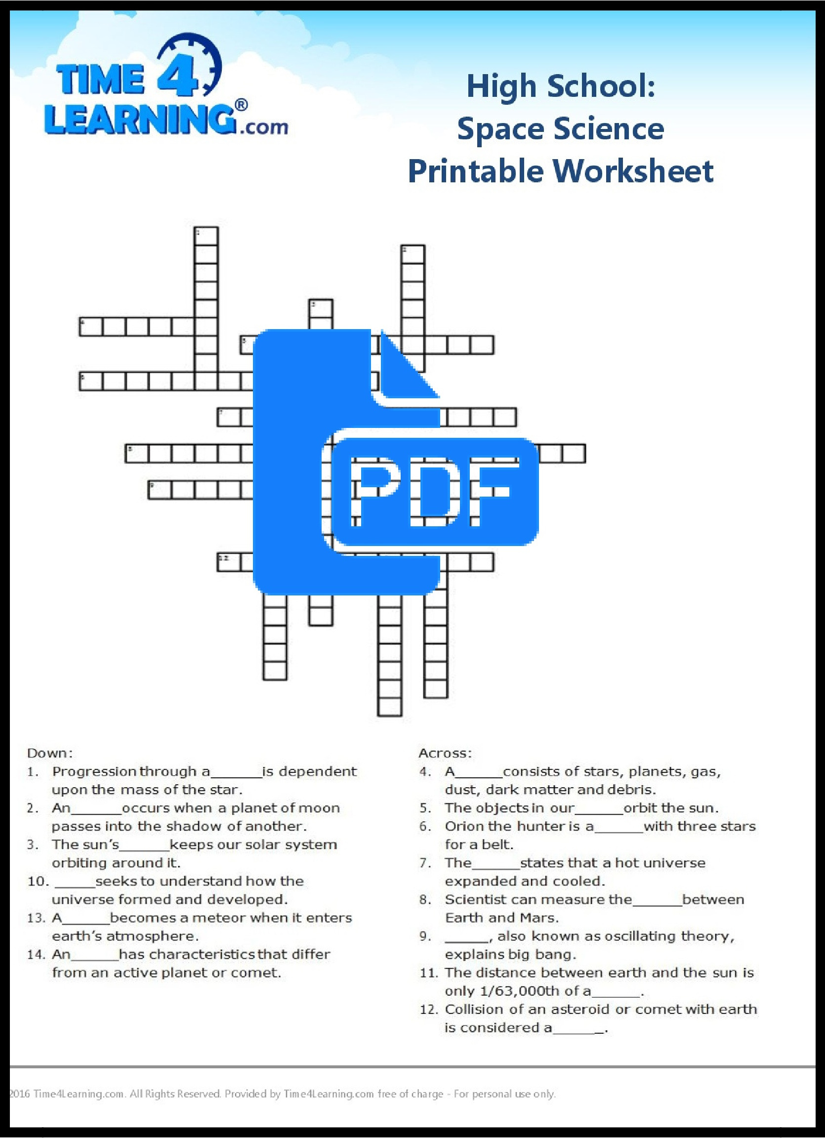 Free Printable: High School Space Science Worksheet | Time4Learning | Printable Science Worksheets