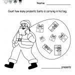 Free Printable Holiday Worksheets | Kindergarten Santa Counting | Free Printable Holiday Worksheets