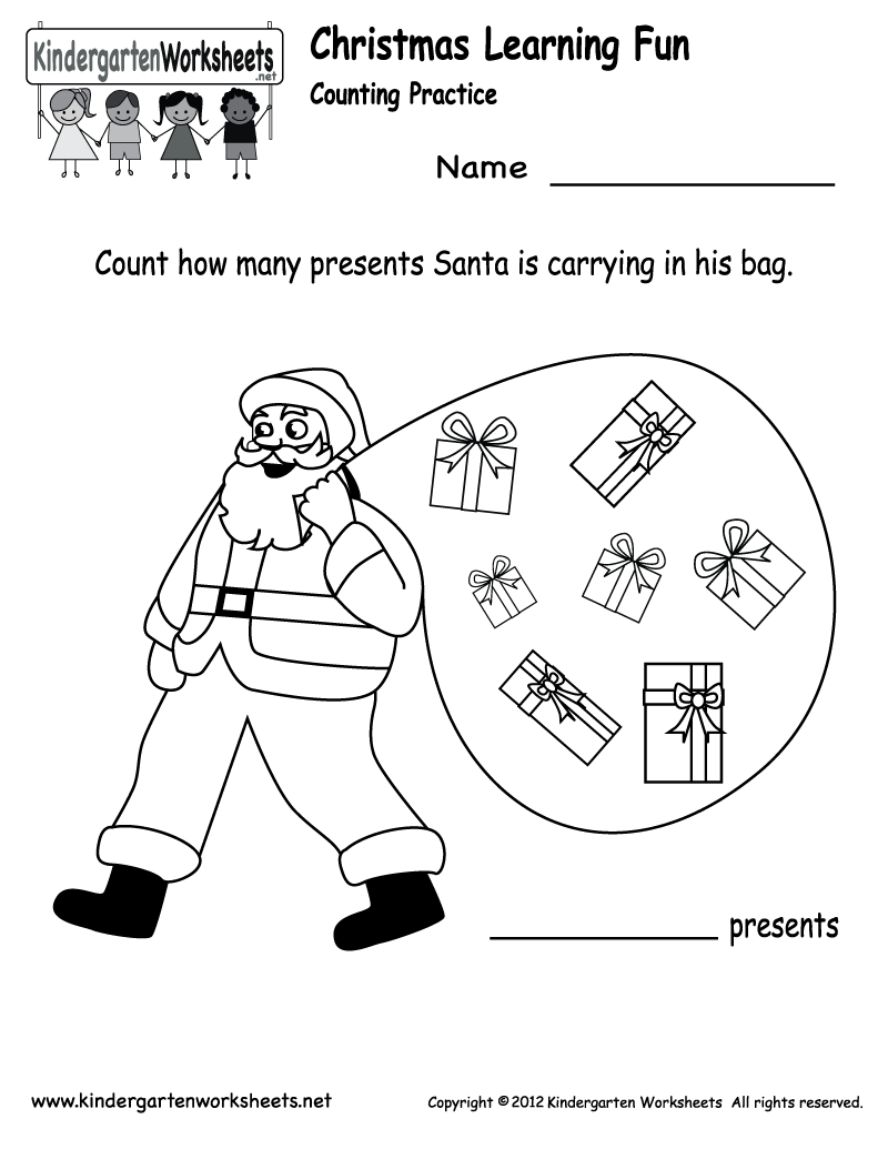 Free Printable Holiday Worksheets | Kindergarten Santa Counting | Free Printable Holiday Worksheets