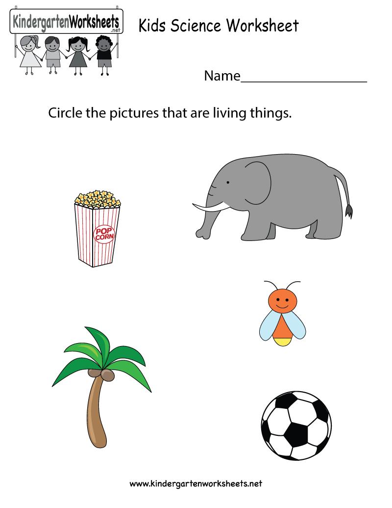 Free Printable Kids Science Worksheet For Kindergarten | Kindergarten Science Worksheets Printable