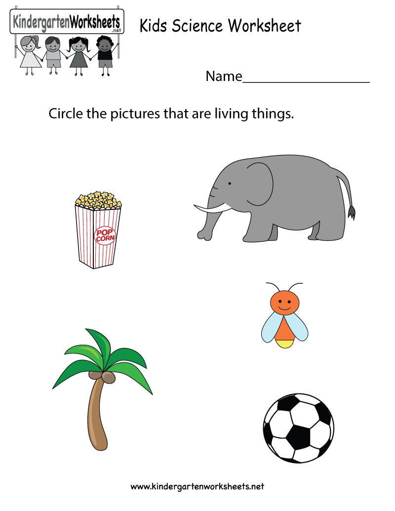 Free Printable Kids Science Worksheet For Kindergarten | Science Worksheets For Kindergarten Free Printable