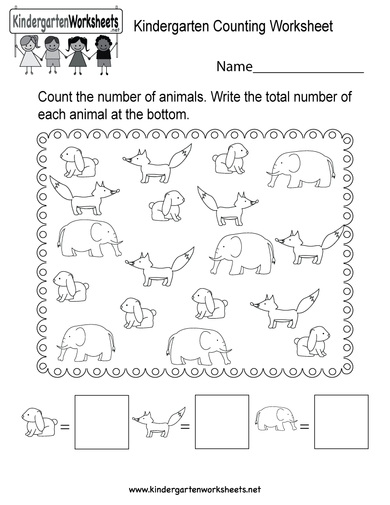 Free Printable Kindergarten Counting Worksheet | Counting Printable Worksheets For Kindergarten