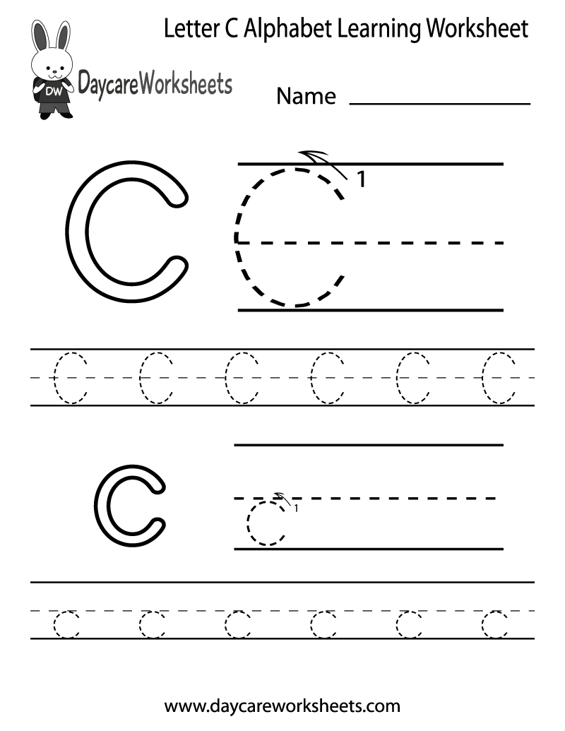 Free Printable Letter C Alphabet Learning Worksheet For Preschool | Letter C Printable Worksheets