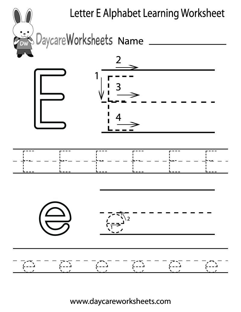 Free Printable Letter E Alphabet Learning Worksheet For Preschool | Letter E Printable Worksheets