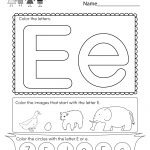 Free Printable Letter E Coloring Worksheet For Kindergarten | Letter E Free Printable Worksheets