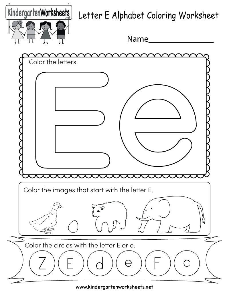 Free Printable Letter E Coloring Worksheet For Kindergarten | Printable Letter E Worksheets For Preschool