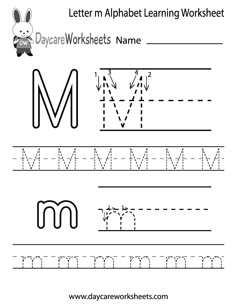 Free Printable Letter M Alphabet Learning Worksheet For Preschool | Letter M Printable Worksheets