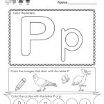 Free Printable Letter P Coloring Worksheet For Kindergarten | Free Printable Letter P Worksheets